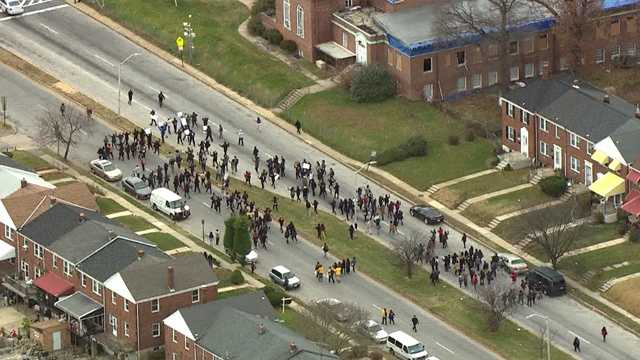 Morgan State University students protest Ferguson on Cold Spring Lane