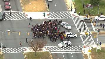 Morgan State University students protest Ferguson on Cold Spring Lane