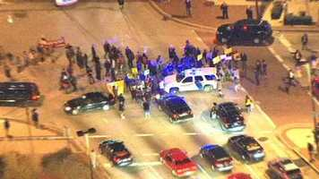 Protesters in downtown Baltimore