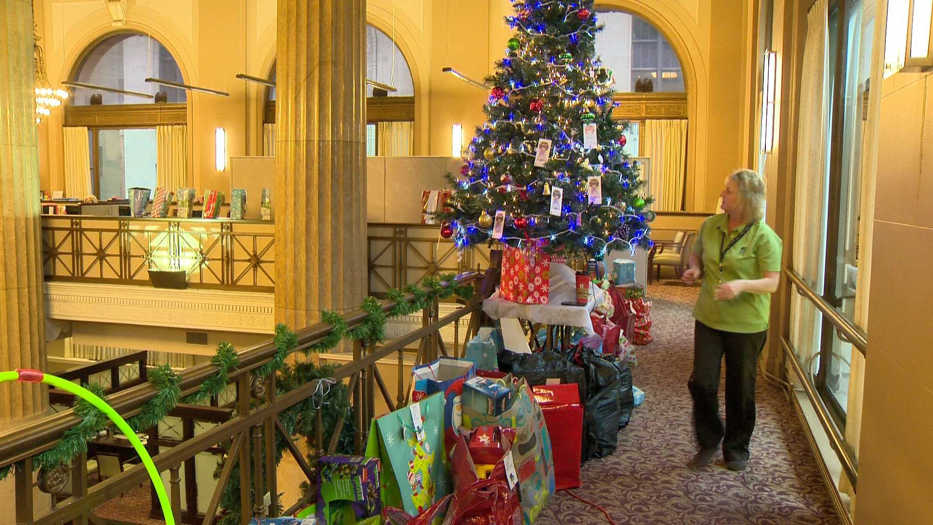 Gifts are already piling up at the Angel Tree at MECU in downtown Baltimore.