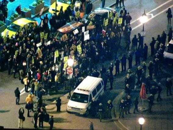 Police backed up slightly from protesters at Penn Station. It's still a face-off so to speak.