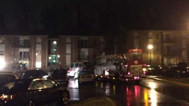 Fire crews wrap up their work at a fatal fire on Tricount Court in Owings Mills.