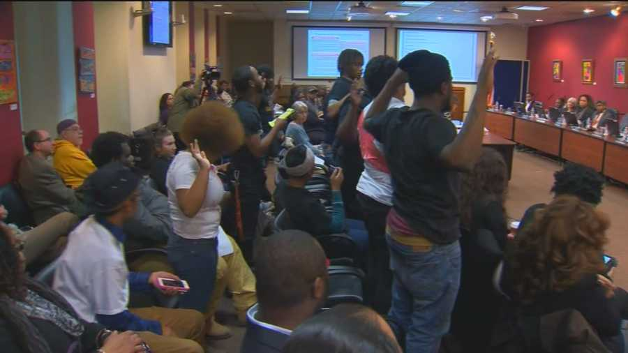 Baltimore City's school board meeting Wednesday night featured a protest over the closure of some schools. About a half-dozen former Heritage High School students stood up during the meeting and chanted.