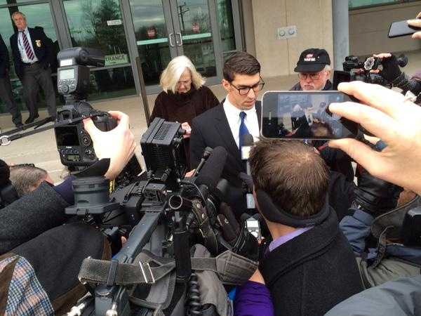 Michael Phelps speaks to reporters after pleading guilty to DUI and receiving probation.