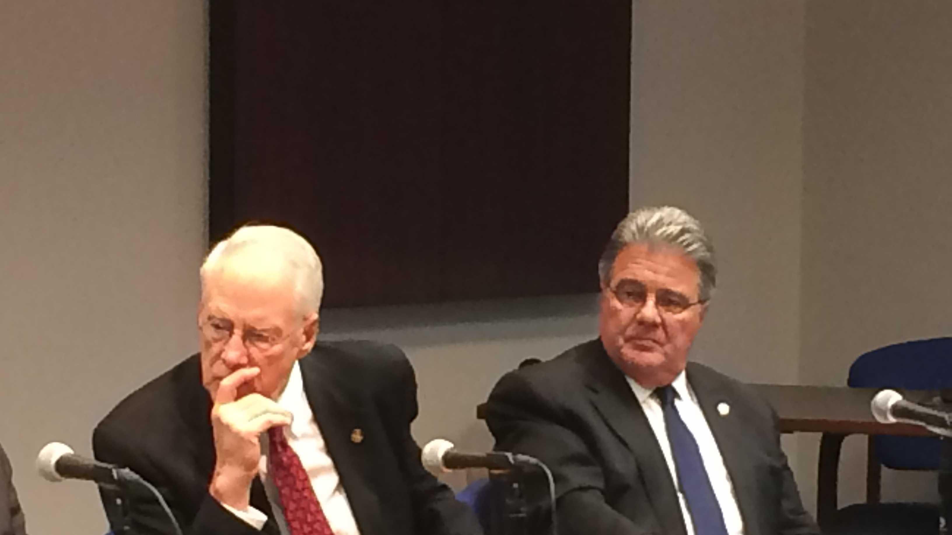 Outgoing USM Chancellor William Kirwan, (left), incoming USM Chancellor Robert Caret (right)