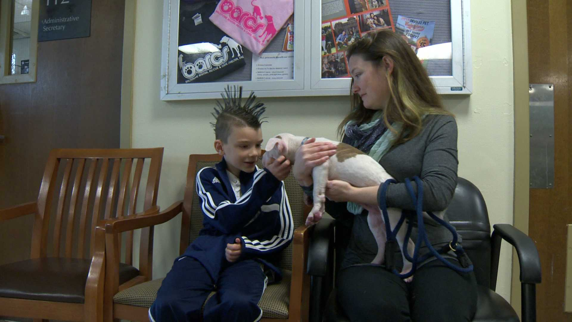 Logan Ader, 10, and his mom pet one of the puppies at BARCS.