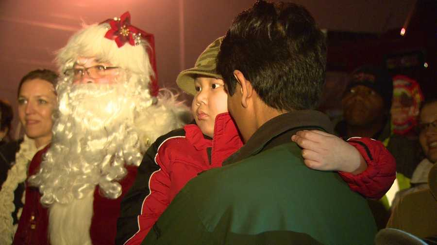 Bartlett invited Rem and his family to see his magnificent lights display at his home in Ellicott City, complete with a crowd to cheer the boy on, Santa and even a big fire truck for Rem to ride in.