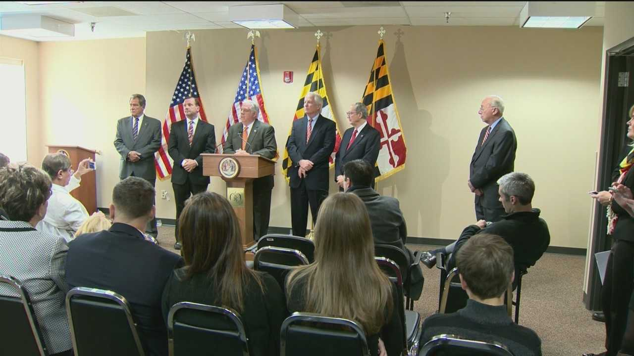 Gov.-elect Larry Hogan announces four senior administration officials at a news conference Tuesday.