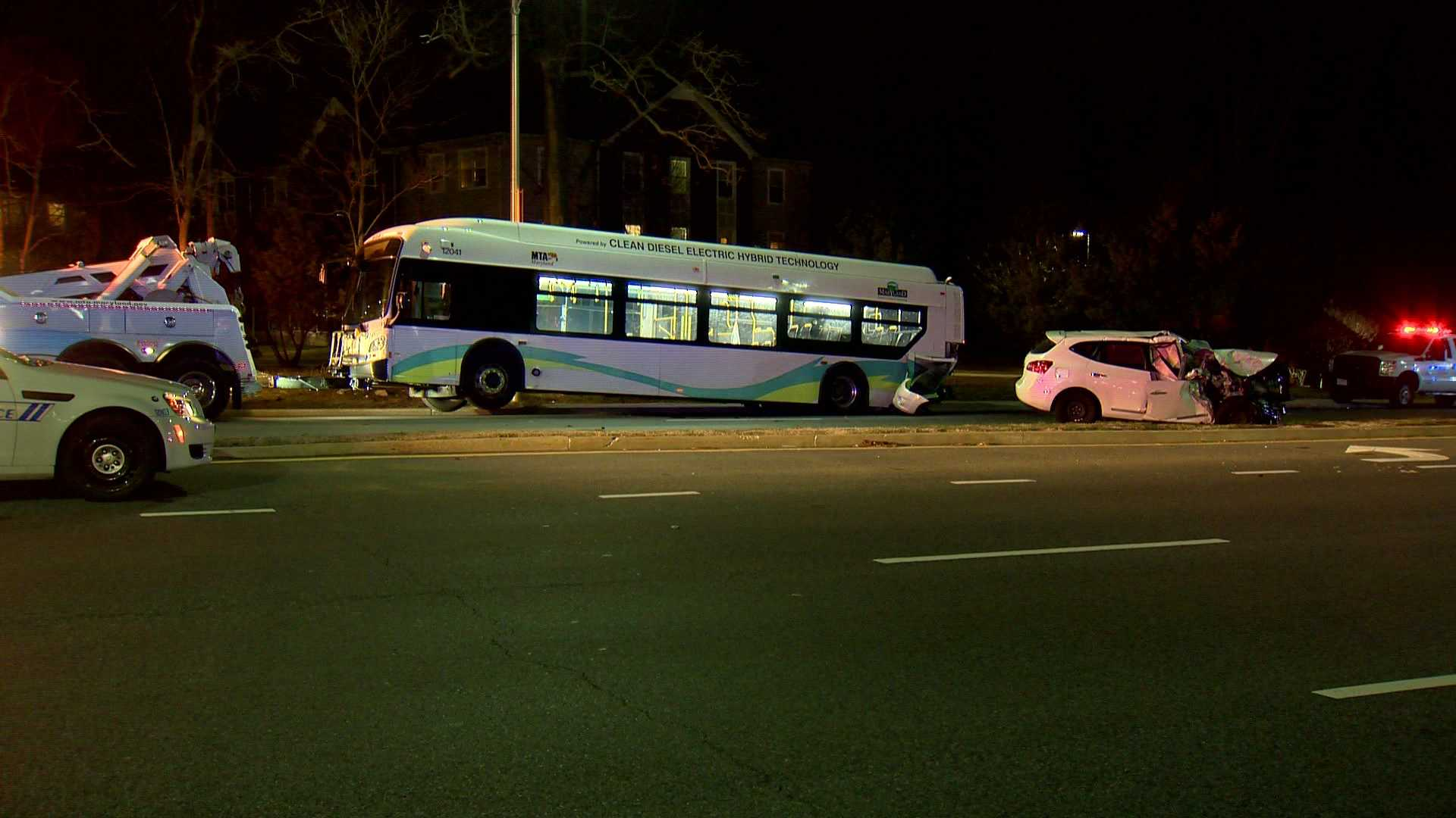 A child died when a sport utility vehicle collided with a Maryland Transit Administration bus Monday evening, according to Baltimore police.