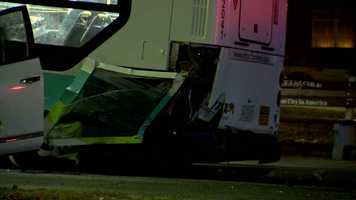 Investigators said the bus and SUV were traveling east when the SUV struck the back of the bus.