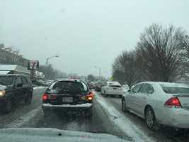 Traffic was bumper to bumper around 9 a.m. Tuesday along Falls Road at Cold Spring Lane in Baltimore.
