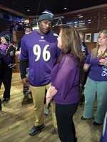 11 News reporter Jennifer Franciotti interviews former Ravens linebacker Adalius Thomas.