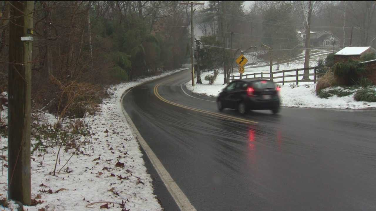 Freezing rain caused slippery road conditions Monday, which resulted in a difficult commute for some.