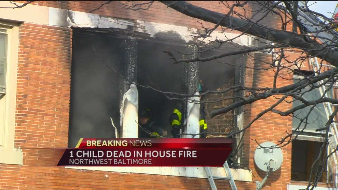 A toddler has died in a fire in west Baltimore, officials said.