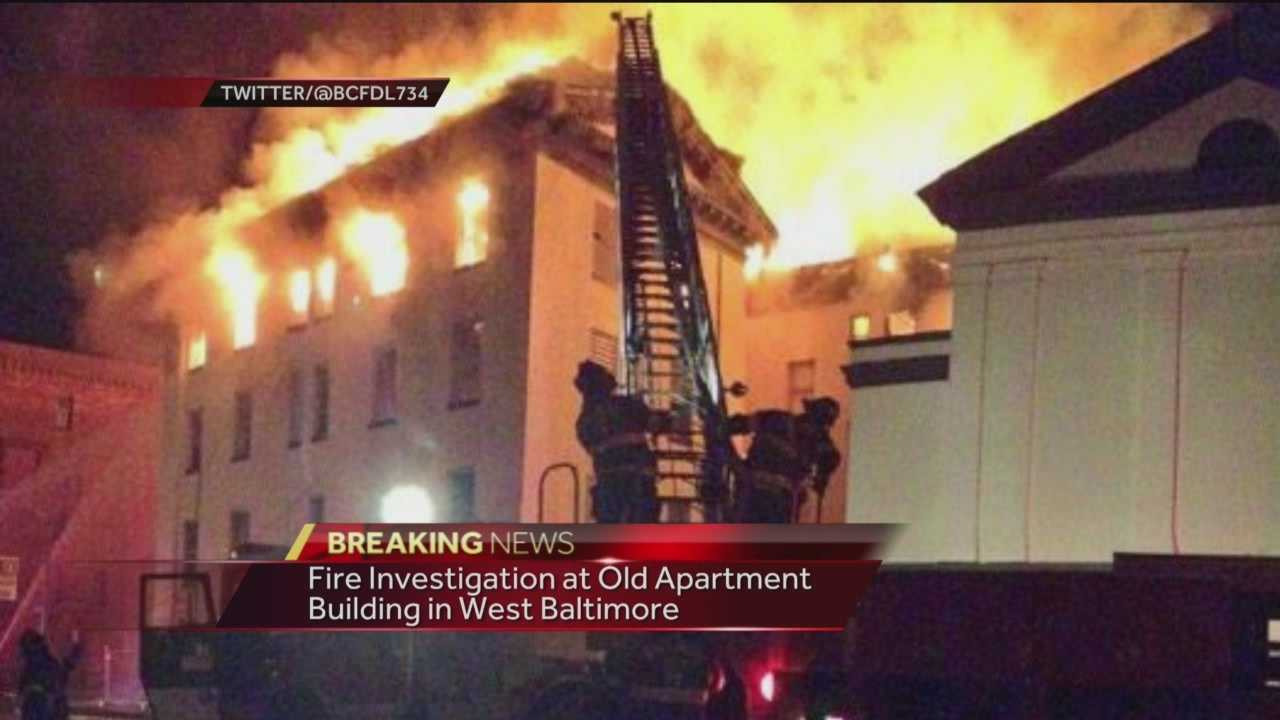 Fire crews have been in west Baltimore all Wednesday morning to put out a huge fire at an old apartment building.