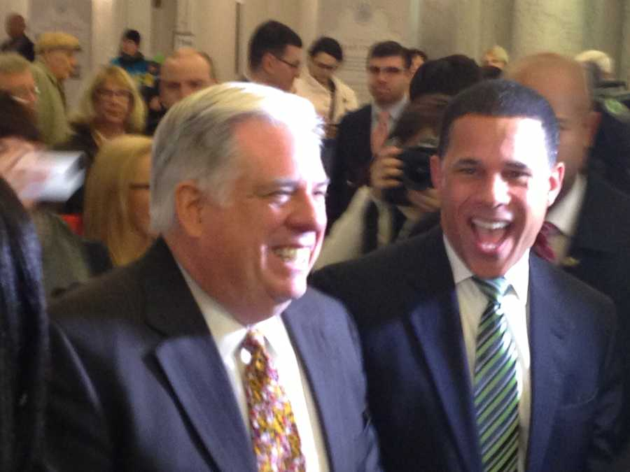 In a strong show of bipartisanship, Democratic Lt. Gov. Anthony Brown and Republican Gov.-elect Larry Hogan team up to greet legislators as they enter the building.