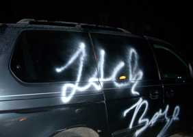 """The cars were vandalized since Dec. 15. Investigators are releasing photos of the damage, some of which includes the words """"Jack Boys,"""" the letters """"HS,"""" and other random markings."""