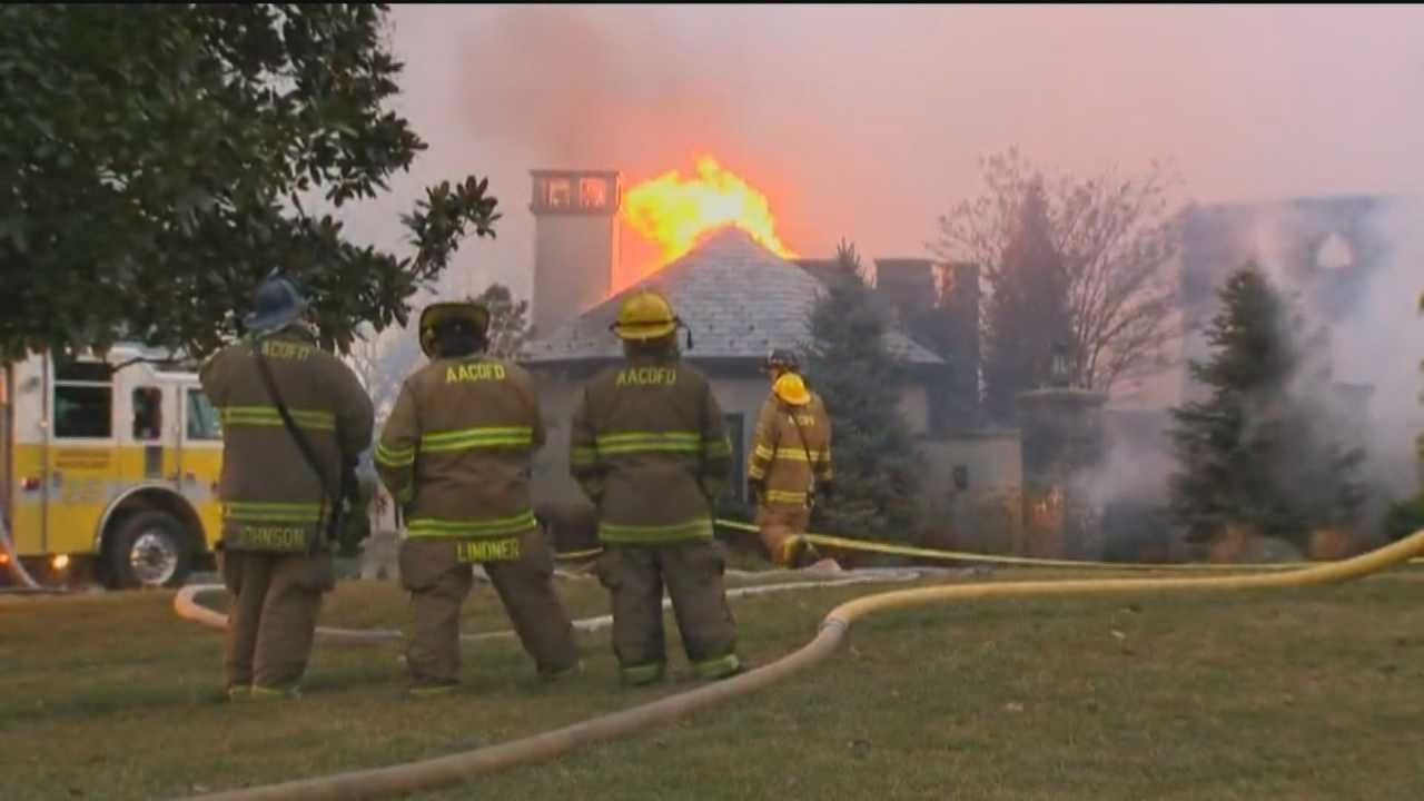 As many as six people are unaccounted for in a massive four-alarm mansion fire in Annapolis.