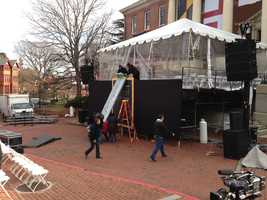 Crews prepare the stage for the inauguration of Gov. Larry Hogan.