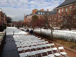 There's seating for thousands for the inauguration.