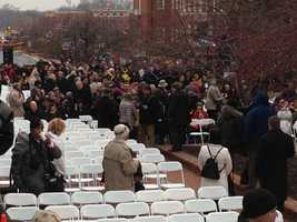 Guests begin arriving for Wednesday's inauguration, despite impending bad weather.