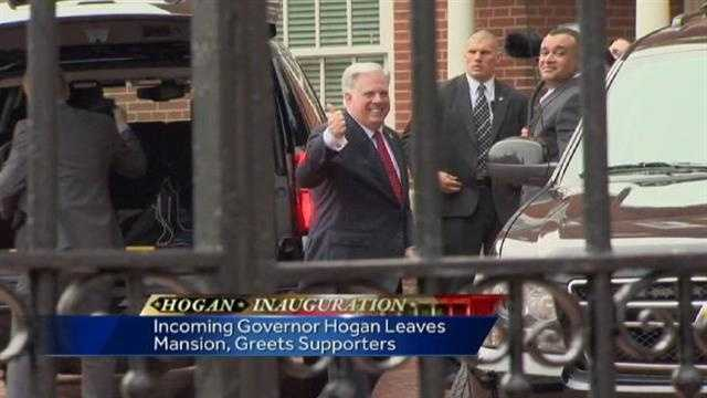 Hogan gives the thumbs up as he leave's Governor's House on Wednesday morning.