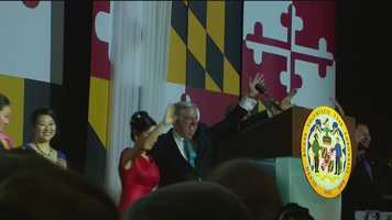 Hogan celebrates his long first day with a big gala at the Baltimore Convention Center.