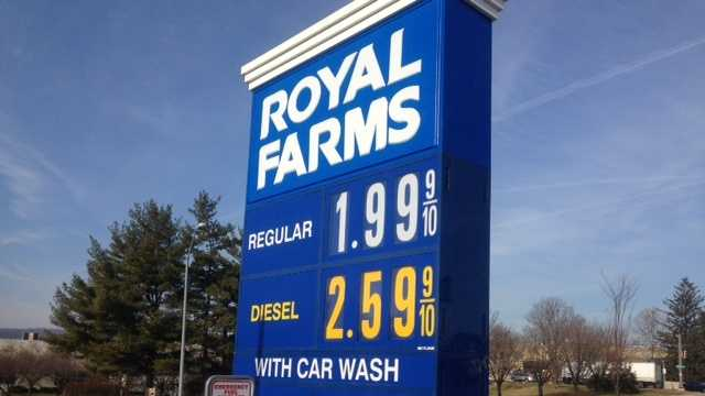 Gas is at $1.99 at a station in Hunt Valley on Friday.