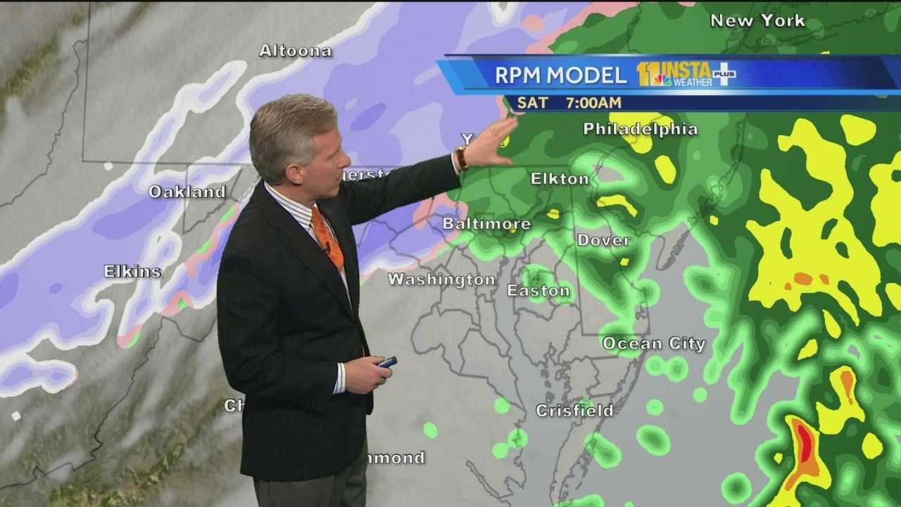 Chief Meteorologist Tom Tasselmyer shows how the storm bringing rain, and snow and sleet to some areas, will clear out by Saturday night, only to be followed by more snow Sunday night.