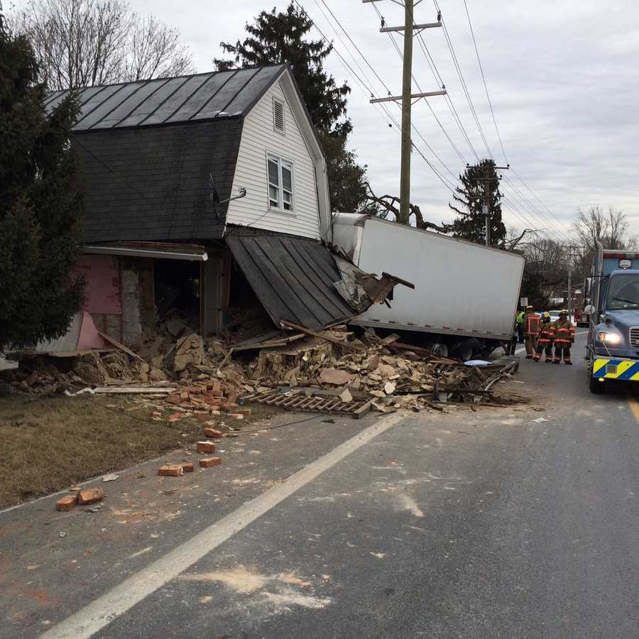 Images: Truck Crashes Into House In Baltimore County