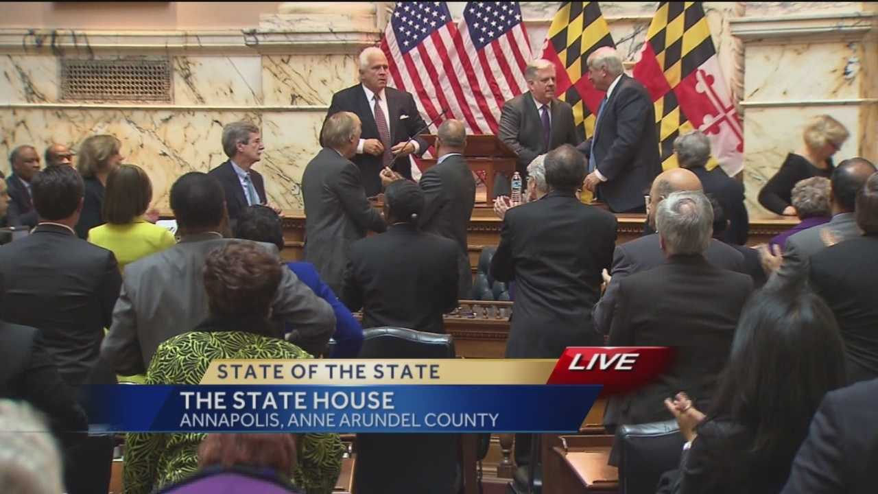 Gov. Larry Hogan's State of the State address gets applause after he's finished.