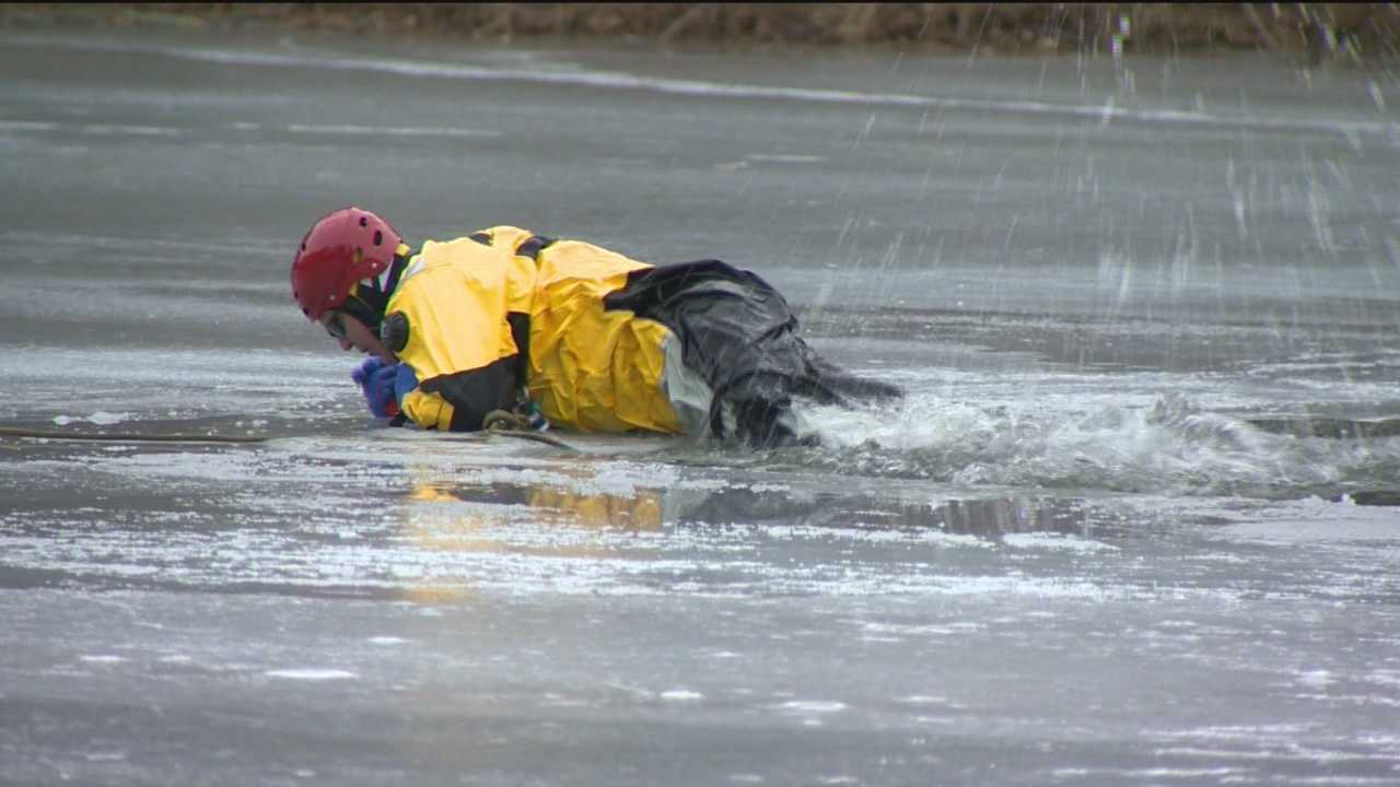 Members of the Baltimore City Special Operations Command spent Wednesday doing drills on ice for occasions when people need rescue.