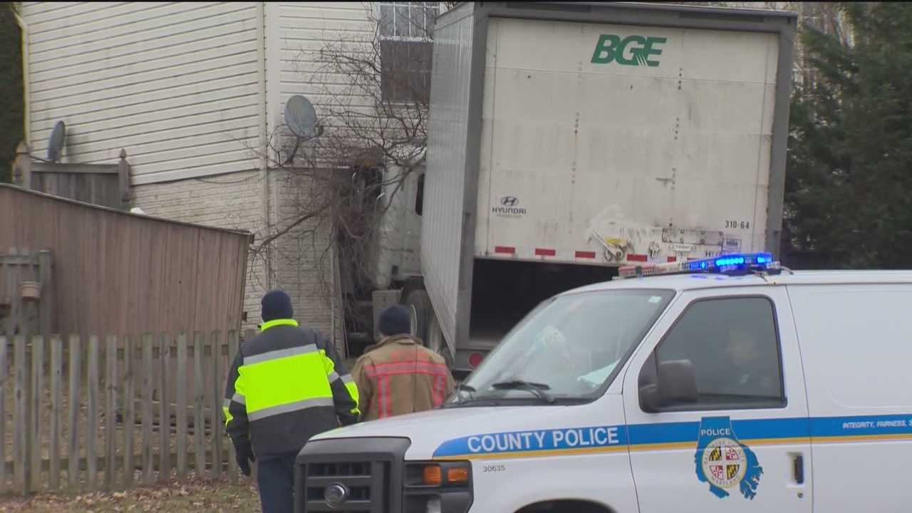 A tractor-trailer struck a house in Perry Hall early Thursday morning, injuring the rig's driver, according to Baltimore County police and fire officials.