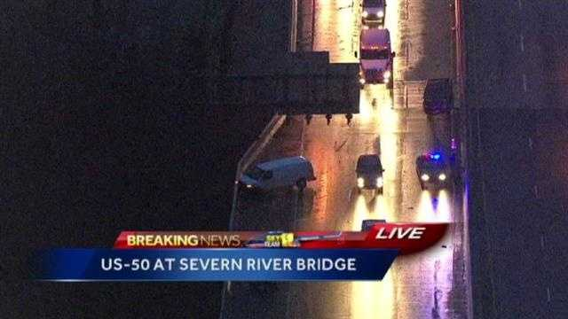 Sky Team 11 flies over the crash on Route 50 at the Severn River Bridge around 6:40 a.m.