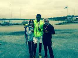 Pursely, who is wearing her WBAL hat, is pictured here with Sidy Diallo and Paul Knight at the The Torcy International Marathon in Paris, France.