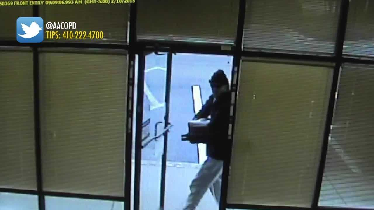 Anne Arundel County police are looking for a man who robbed a Pasadena bank using the threat of a bomb.