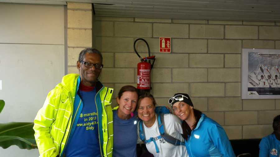 While in France, Pursely poses here with Sidy Diallo, Pamela Lauroff and Rachael Hoag.