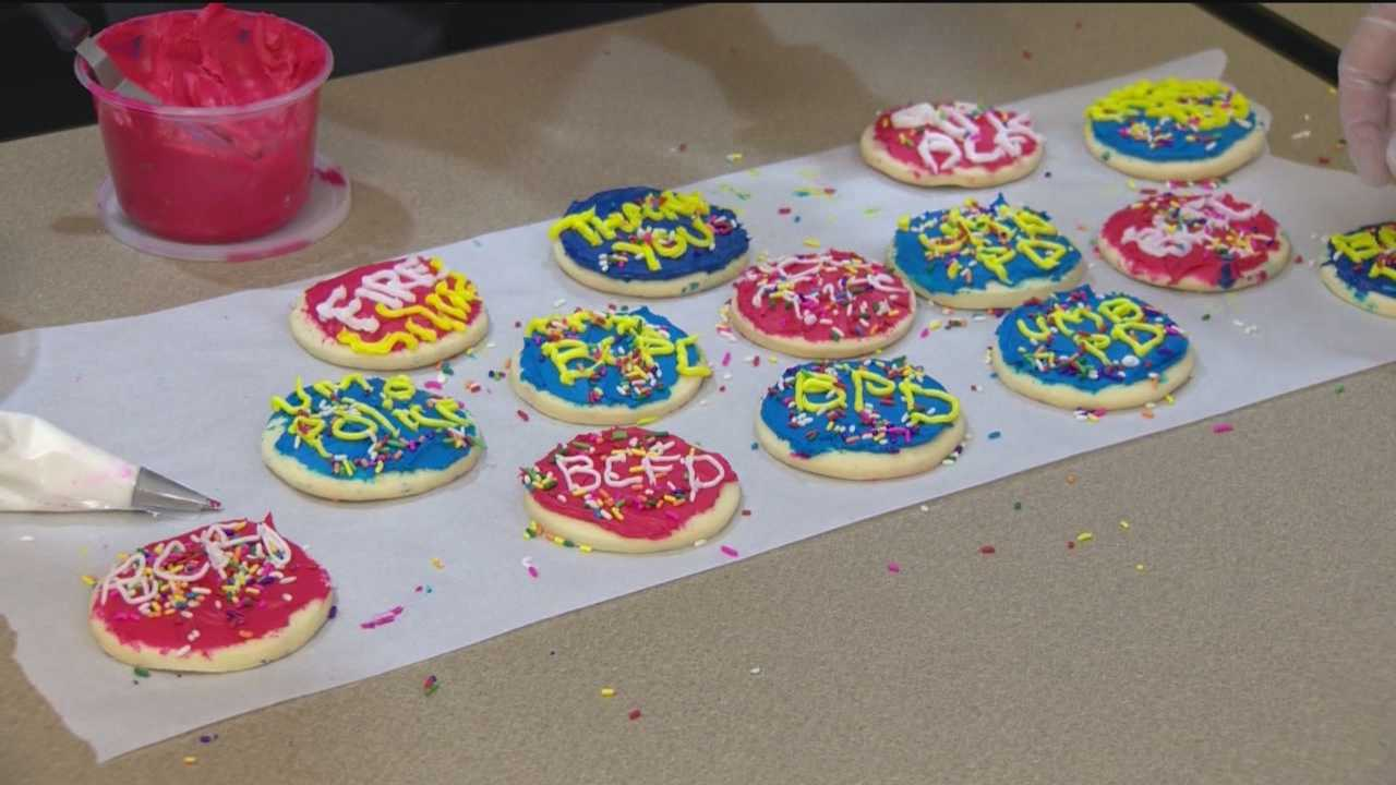Hundreds of cookies aren't going to a bake sale or cookoff. Instead, they'll be used to spread kindness.