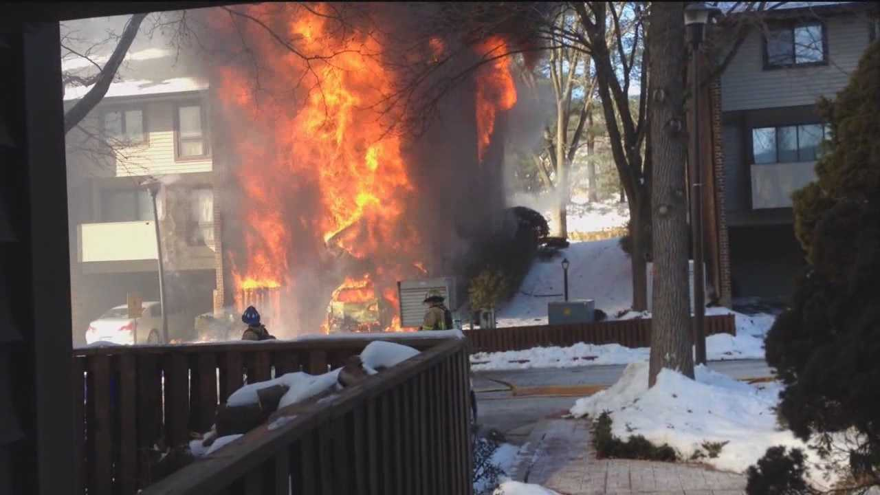 Firefighters battled a three-alarm fire that destroyed a townhouse in Columbia.