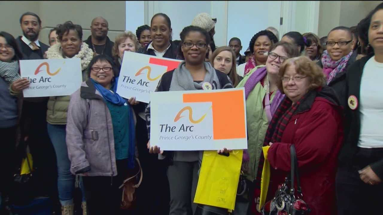 Several hundred developmentally disabled people, their advocates, family and friends ask lawmakers to address a growing waiting list for services and to restore cuts in wages to caretakers.