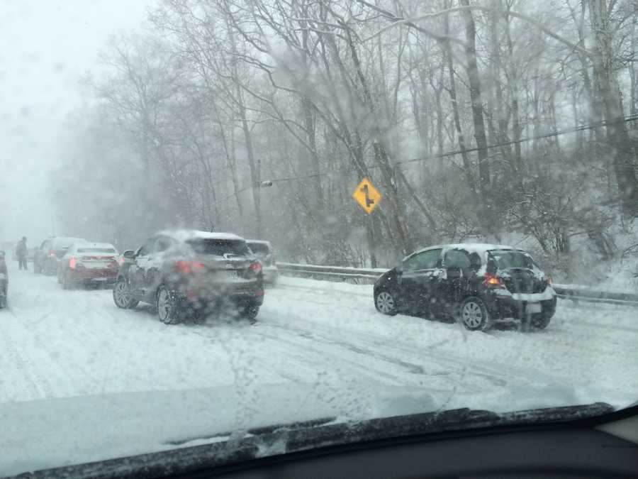 Cars stuck in the snow on Route 140 in Reisterstown