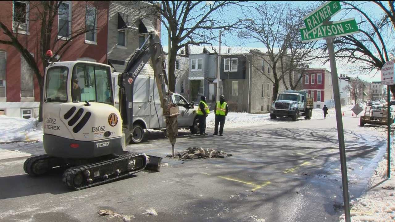 Baltimore Public Works crews are overwhelmed by the number of water main breaks as a result of the frigid cold weather.