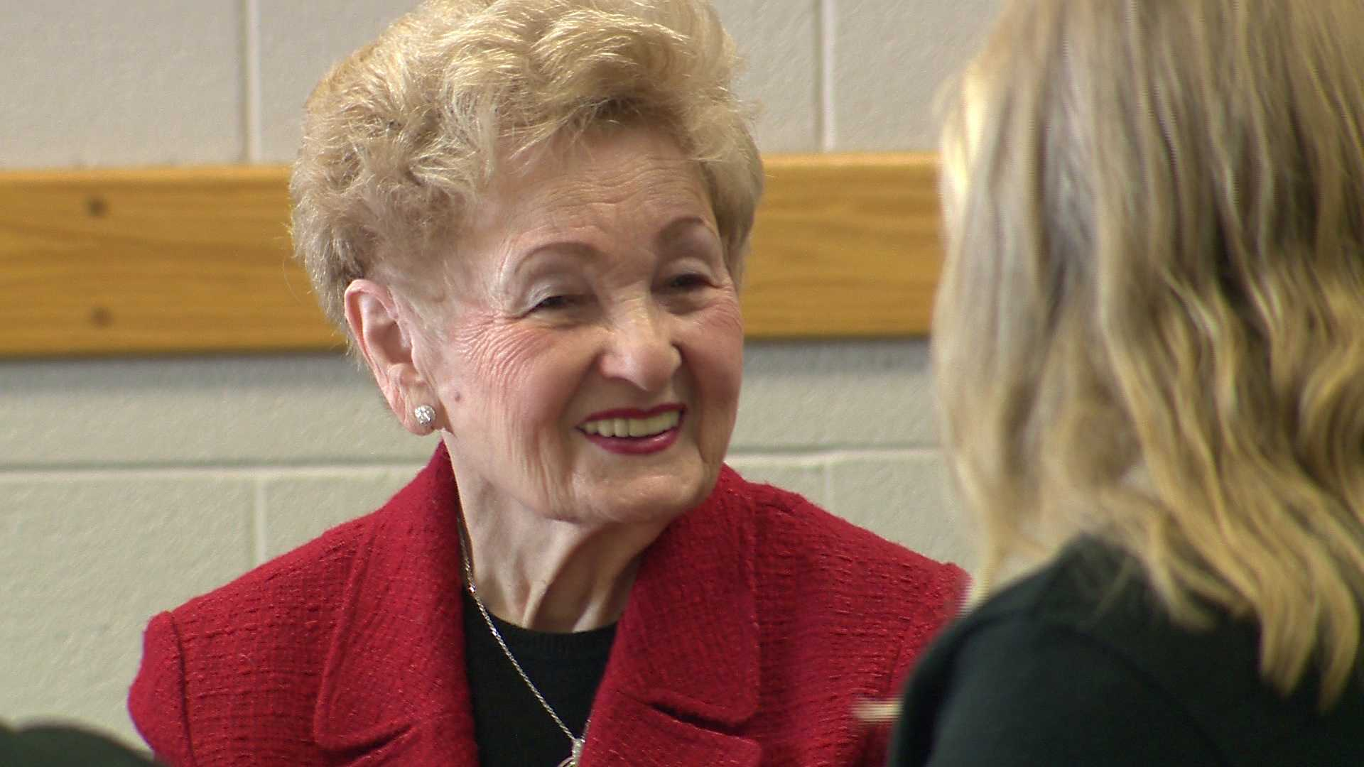 Holocaust survivor Halina Silber talks with students at the John Carroll School.