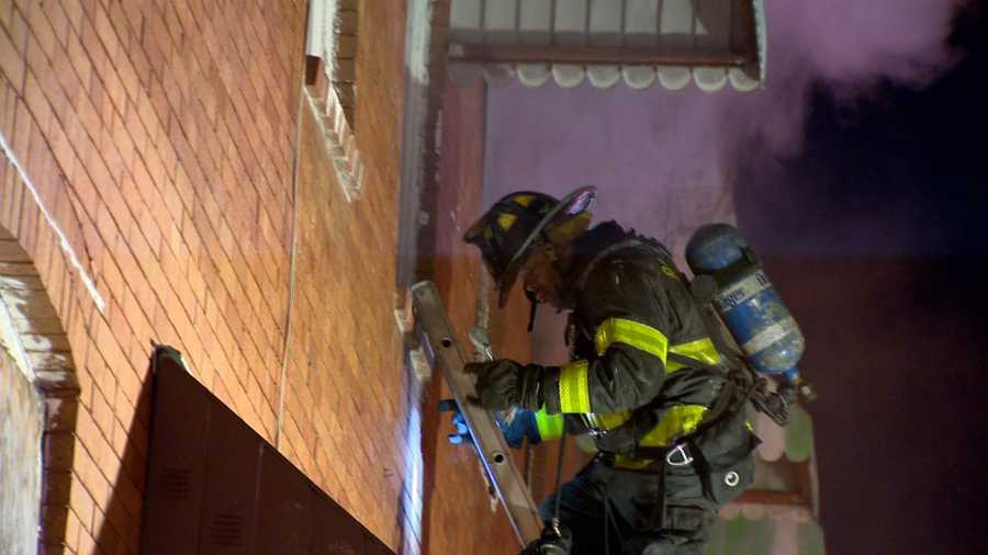 Baltimore City Fire Department officials said the flames broke out just before 9:30 p.m. in the 600 block of North Brice Street.