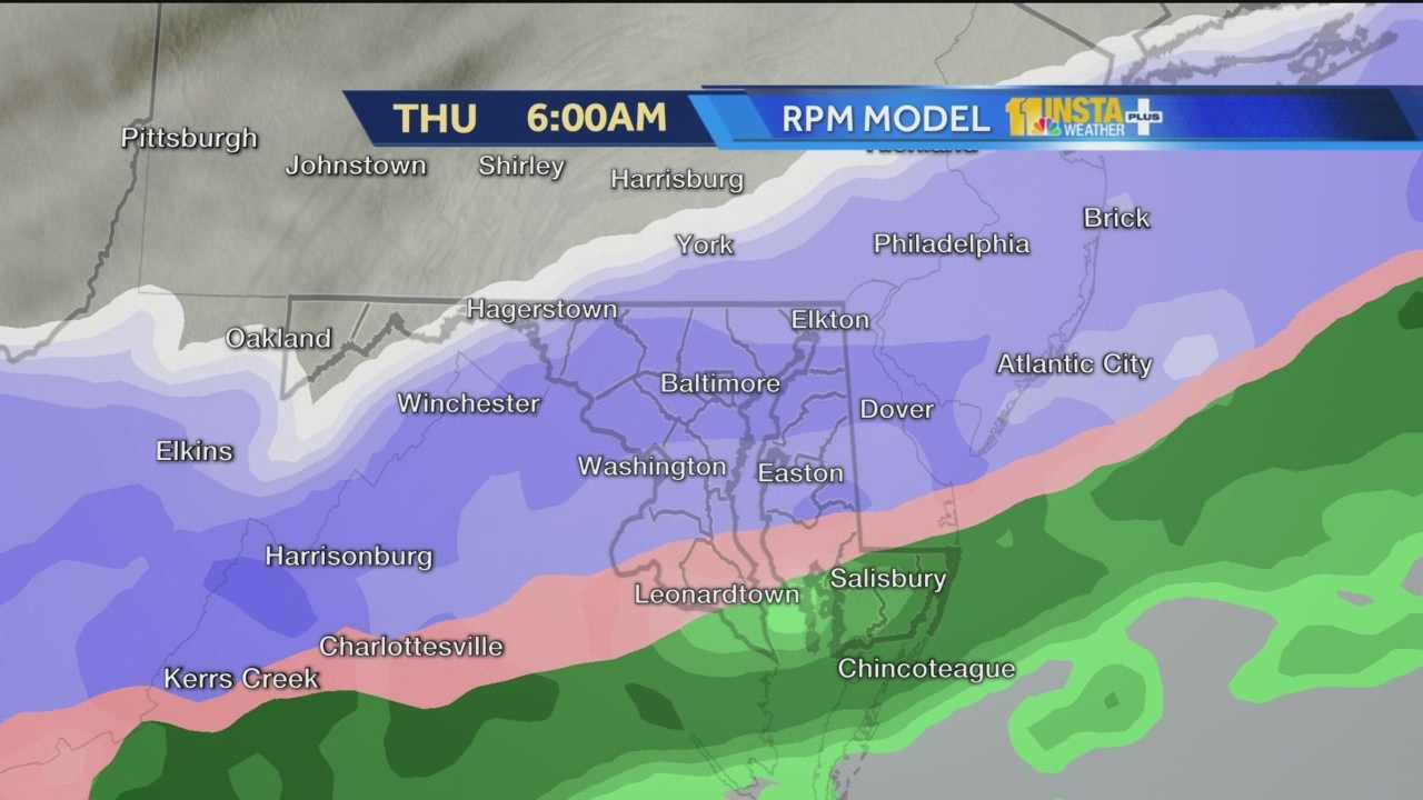 The Futurecast model shows when and where rain will turn to snow overnight into Thursday.