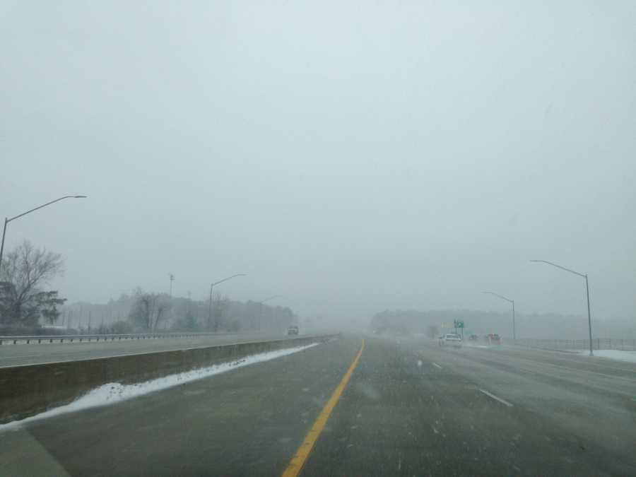 Heavy fog but clear roads are seen on Interstate 97 on Thursday morning.