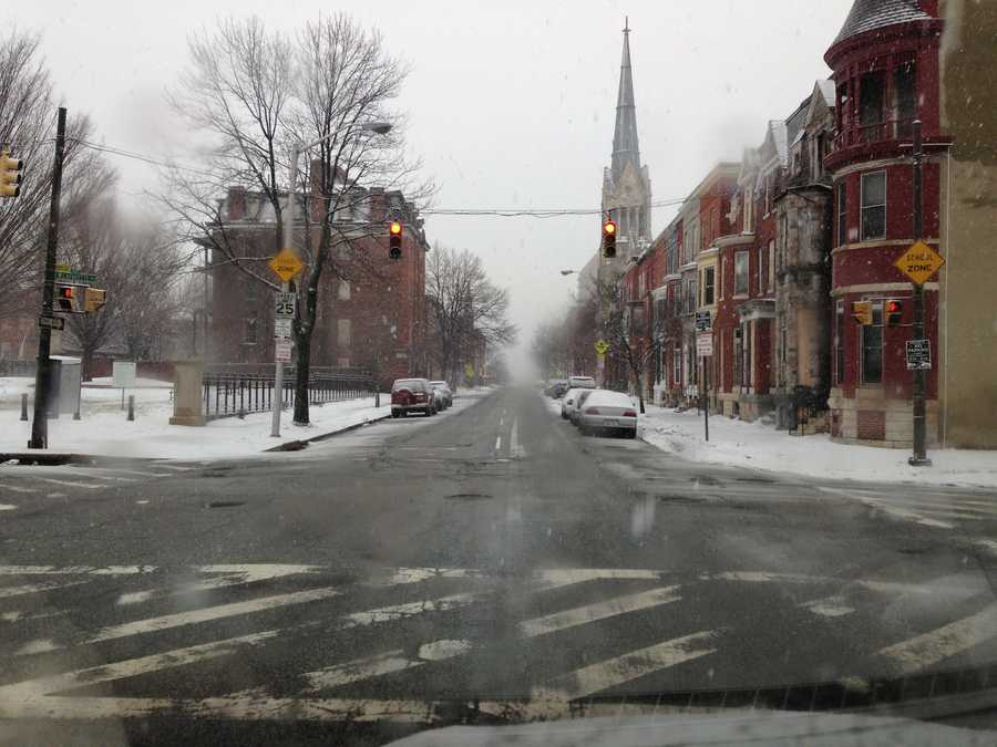 West Baltimore Street in Baltimore at 8:40 a.m.