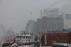 Domino Sugar in the snow