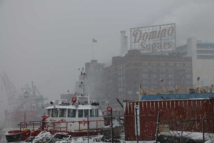 Domino Sugar in the snow