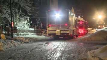 Officials say the snow and ice made putting out the fire difficult.